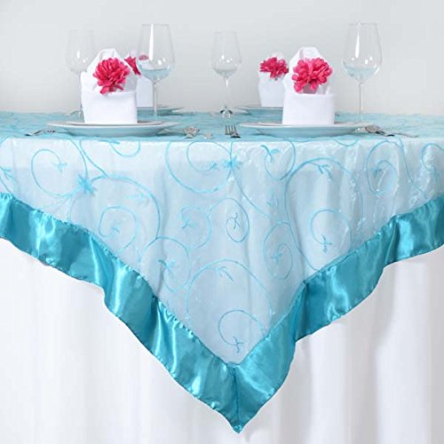 (Efavormart Turquoise Organza Embroidered Square Tablecloth Overlay 72