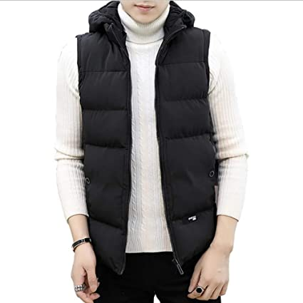 Amazon Com Men S Gilet Winter 2018 Mens Casual Vest Youth Fashion Sports Outdoor Hooded Down Cotton Jacket Vest Black Clothing
