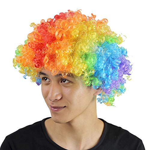 South Weekend Halloween Exploding Head Clown Fans with The Same Wig Hot 2018 (Multicolor)