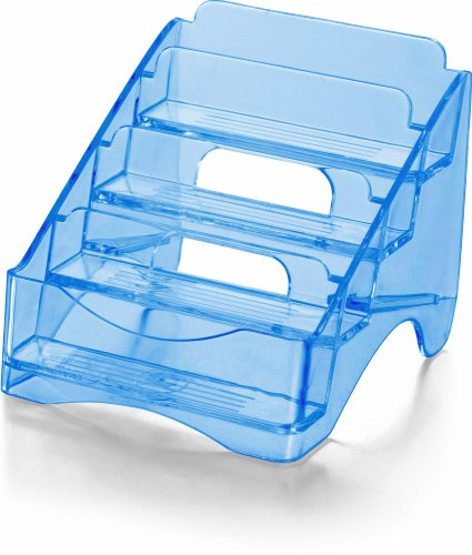 OfficemateOIC Glacier Business Card Holder, 4 Tier, Transparent Blue (23212) Photo #3