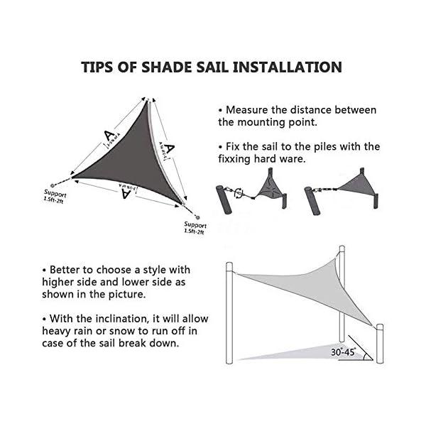 HEWYHAT Vela Telo Parasole Tenda Triangolare Ombreggiante in HDPE 3x3x3m Resistente Protezione UV 95% per Ombra Giardino Terrazzo con Aggancio Occhielli,Rust Red 6 spesavip