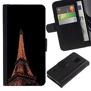 Billetera de Cuero Caso Titular de la tarjeta Carcasa Funda para Samsung Galaxy S5 V SM-G900 / Eiffel Tower in Paris / STRONG
