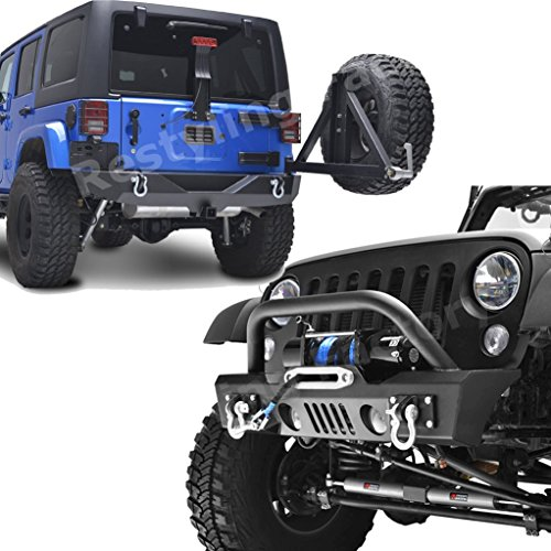 Restyling Factory Jeep Wrangler JK Stubby Front Bumper and Rear Bumper with Tire Carrier Combo