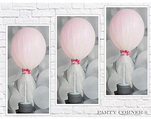 Party Tulle Balloons Kit (12 pcs) for Baby Shower Birthday Wedding Party Decoration (Camellias) by Party Corner