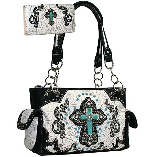 Western Rhinestone Turquoise Cross Purse Wallet Set With Turquorse Cross - White/with Black Trim