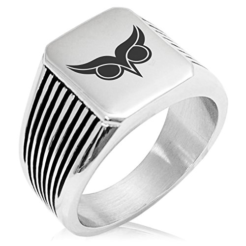 Two-Tone Stainless Steel Athena Greek Goddess of Wisdom Engraved Needle Stripe Pattern Biker Style Polished Ring, Size 10