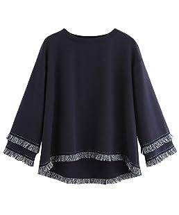 Sweat Femme 2018 EUZeo Printemps Automne Hiver Aux Femmes Décontractée Mode O-Neck Solide Manche Longue à Franges Sweat à Pampilles Pullover Tops Blouse
