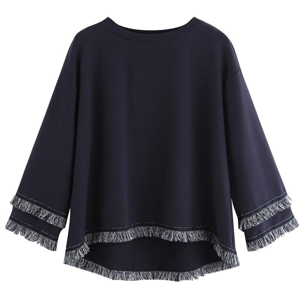 Simayixx Blouse for Women Fashion Women Tiered Fringe Sweatshirt Long Sleeve Crew Neck Elegant Pullover