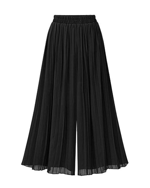 Mujeres Ancho Pierna Plisada Pantalones De Gasa Cintura Elástica Tallas  Grandes Negro 4XL  Amazon.es  Ropa y accesorios 93f2d73ce99e