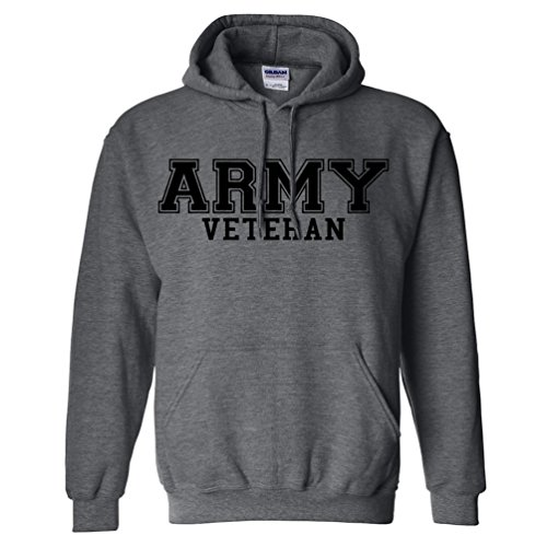 - Army Veteran BLACK logo Hooded Sweatshirt in Dark Heather - X-Large