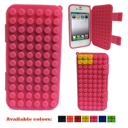 Suntech 668168-266 For Apple iPhone 4 and 4s Silicone Brick Case Flip Cover (Pink)