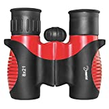 Hawkeye Shock Proof 8x21 Kids Binoculars Set for Bird Watching, Educational Learning, Hunting, Hiking, Birthday Presents, Playing Games, Toys for Boys and Girls, Black, Red