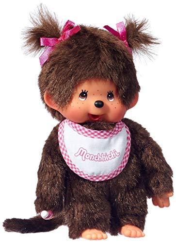 Big Game Toys~New Retro MONCHHICHI Girl with BGT Storage Bag Original Plush Monkey Doll-Pink Bib