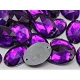 18x13mm Amethyst CH05 Oval Flat Back Sew On Beads for Crafts - 50 Pieces