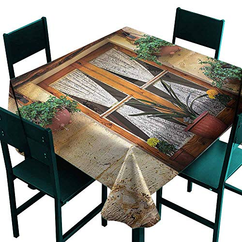 DONEECKL Easy Care Tablecloth Shutters Old Window and Flowers Washable Tablecloth W60 xL60