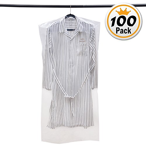 Voilamart 100 Pack Garment Bag Transparent 23 6  X 47 2    Dustproof Polythene Hanging Clothes Suit Protector Dress Jacket Cover For Dry Cleaner  Home Storage  Travel  Wedding  Road Trip