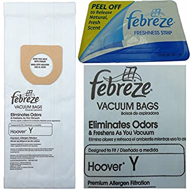 10 Allergy Filtration Hoover Type Y Scented Replacement Vacuum Bags To Fit Hoover WindTunnel and Tempo Uprights (10pk)