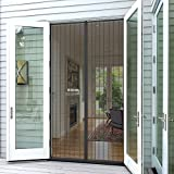 Planet Homeware Full Frame Heavy Duty Velcro Mesh Magnetic Screen Door Curtain, Fits up to 35 x 82-Inch