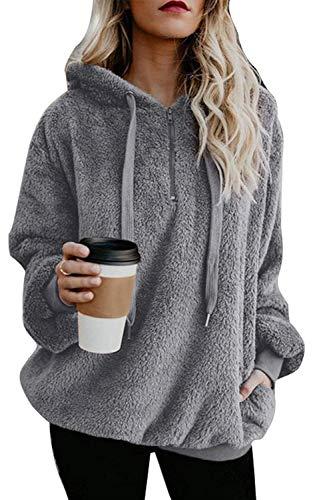 Yanekop Womens Sherpa Pullover Fuzzy Fleece Sweatshirt Oversized Hoodie with Pockets(Light Gray,L)