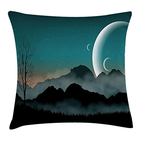 Space Throw Pillow Cushion Cover, Night Sky on Mountain Range Forest Crescent Moon Star Cosmic Infinity Astral Graphic, Decorative Square Accent Pillow Case, 24