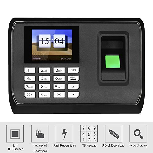 HFeng 2.4 inch TFT LCD Screen Intelligent Biometric Fingerprint Password Attendance Machine Employee Checking-in Recorder DC 5V Time Attendance Clock System by HFeng