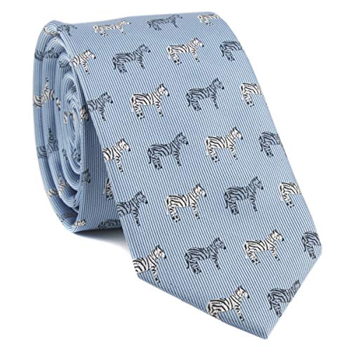 Big Boy Blue Silk Cravat Novelty Tie Zebra Casual Ribbed Necktie Neckwear Holiday Gifts for Men ()