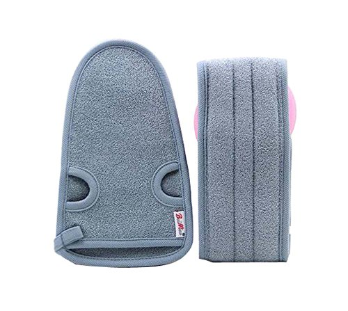 2 Of Practical Soft Bath Gloves Exfoliating Bath Belts For Male  Gray