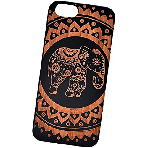 Mandala Elephant Engraved Black Bamboo Cover for iPhone and Samsung phones Wood - Samsung Galaxy s7 Edge Sales
