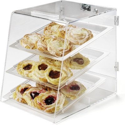 Carlisle SPD30007 Acrylic Three Tray Pastry Display Case with Back Door, 18