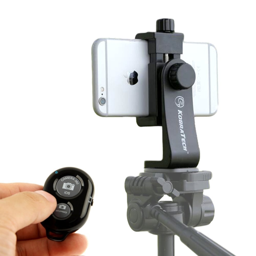 KobraTech Cell Phone Tripod Mount , UniMount 360 Universal iPhone Tripod  Mount Adapter with Remote
