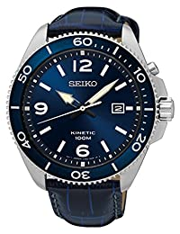 Seiko SKA745S Men's Kinetic Sport Watch with Leather Strap