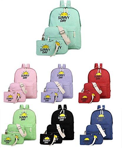 Minetom Backpack Mochilas Escolares Mochila Escolar Casual Bolsa Viaje 3 Piezas Embrague Bolsa De Mensajero Dibujos Animados Nieto morado
