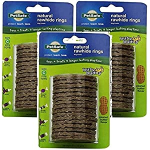 PetSafe Busy Buddy Refill Ring Dog Treats for select Busy Buddy Dog Toys, Peanut Butter Flavored Natural Rawhide, Size C (Pack of 3)