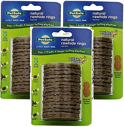 efill Ring Dog Treats for select Busy Buddy Dog Toys, Peanut Butter Flavored Natural Rawhide, Size C (Pack of 3) ()