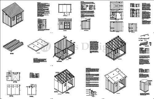 8' x 12' Deluxe Storage Shed Plans / Building Blueprints, Lean To Roof Style Design # D0812L