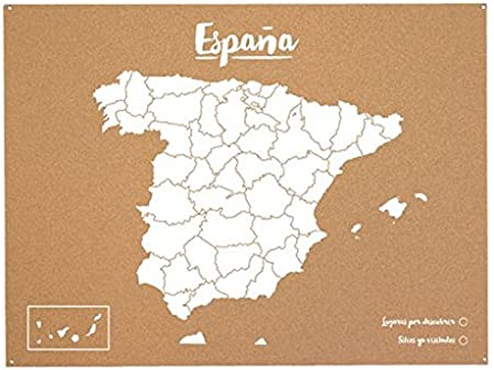 Miss Wood Mapa de España de Corcho, Pino, Blanco, L-45x60CM: Amazon.es: Hogar
