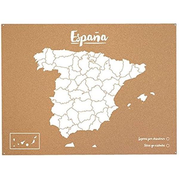 Miss Wood Mapa de España de Corcho, Pino, Blanco, L-45x60CM ...