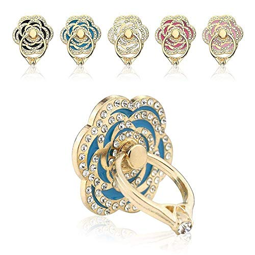 Phone Ring, ECVILLA Luxury Rose Shape Universal Phone Holder, 360° Rotation/3D Ring Grip Compatible with iPhone iPad Samsung LG HTC Nokia Huawei Tablet (Blue)