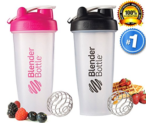 Blender Bottle Classic Loop Top Shaker Bottle / Drink Cup for Protein Shakes & Smoothies, Clear Black & Clear Pink, 28 Ounce, 2 Pack