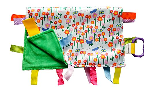 "Baby Sensory, Security & Teething Closed Ribbon Tag Lovey Blanket with Minky Dot Fabric: 14""X18"" (Garden)"