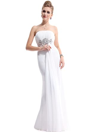 Ever Pretty White Strapless Prom Gown Bridesmaid Dress 09652, HE09652WH14, White, 14UK