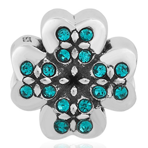 Lucky Four Leaf Clover 925 Sterling Silver Bead Fit European Charms Bracelet (Turquoise December (Spuds Mackenzie Halloween)