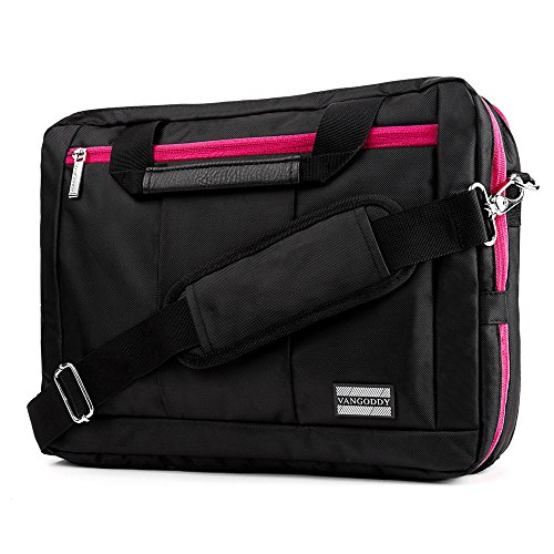 Travel Backpack Messenger Bag 11.6 / 12.5 / 13.3 for HP Pavilion / Lenovo IdeaPad / Thinkpad / Toshiba Satellite Click 2 Pro Series / Chromebook 2 / Portégé Z Series / Fujitsu Stylistic / schwarz/magenta