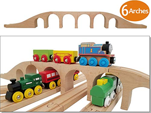 Wooden Brick 6 Arches Viaduct Bridge | Deluxe 3-piece Train Track Accessories Fits Thomas, Brio, Ikea, Chuggington, Imaginarium, Melissa and Doug Railway Set | Best Gifts for Kids Toddler Boys & Girls ()