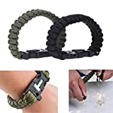 Outdoor Emergency Survival Bracelet Paracord Whistle Flint Fire Starter Scraper Kits Tool Green