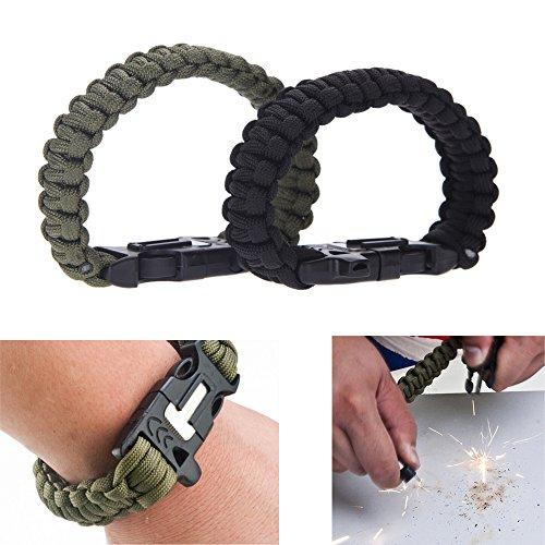 Outdoor Emergency Survival Bracelet Paracord Whistle Flint Fire Starter Scraper Kits Tool Green