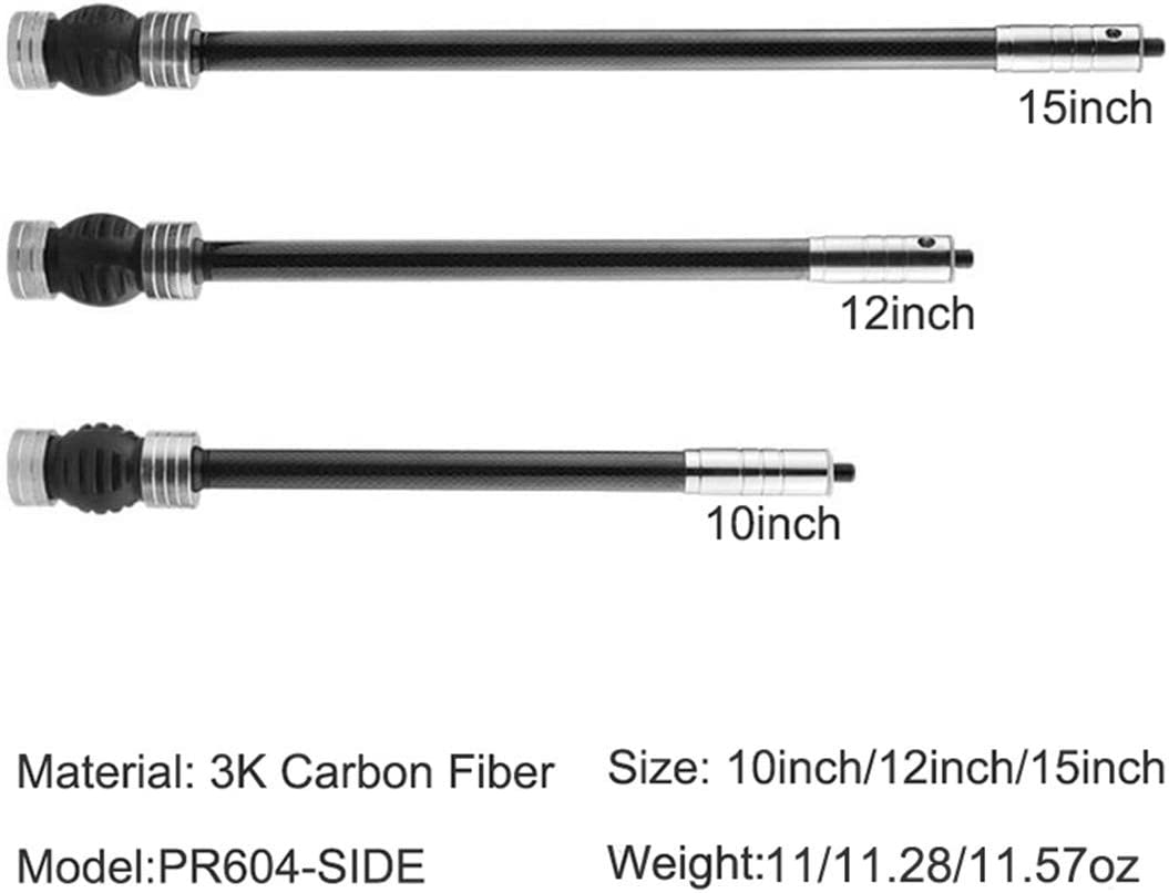 HRCHCG 6 inches Archery Stabilizer Carbon Fiber with Rubber Bow Damping