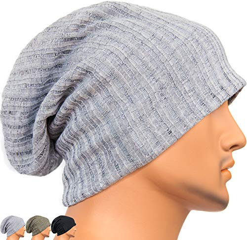 (Rayna Fashion Men Women Summer Thin Slouchy Long Beanie Hat Cool Baggy Skull Cap Stretchy Knit Hat)