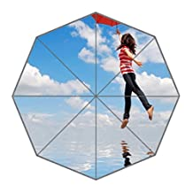 Custom A Girl Red Umbrella Against Blue Sky Pattern Folding Outdoor And Beach Resist Weather Multifunction Affordable Umbrella