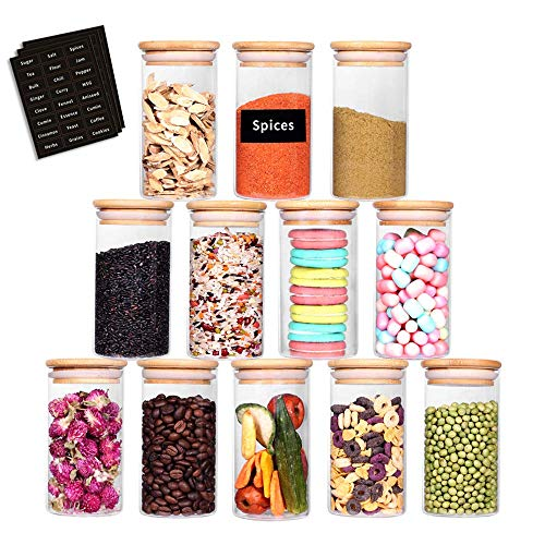 SAIOOL Glass Jars Set of 12,Upgrade Spice Jars Glass with Wood Airtight Lids and Labels, 8.5oz Small Food Storage…